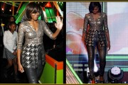 Moochelle in party outfit No text
